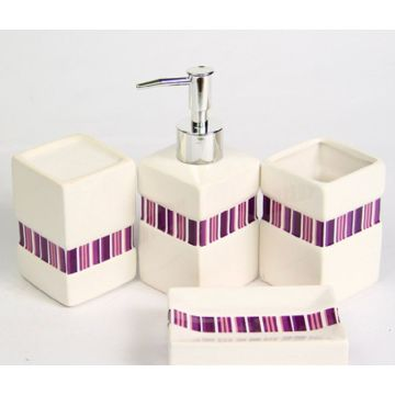 4 PC Of Ceramic Bath Set Square Shaped With Shower Curtain
