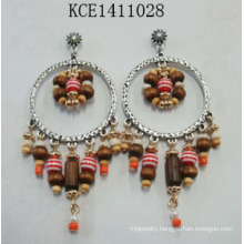 Tassel Wood Earring with Metal for Lady