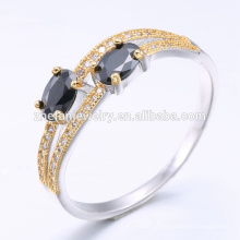 Anéis da jóia da forma do ouro 18k preto no anel da jóia da prata com chapeamento de ouro branco