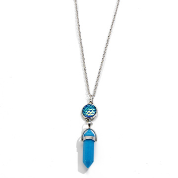 fish's scales hexagonal prism Blue Turquoise Stone Necklace