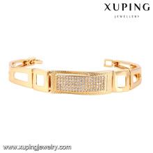 74514 moda elegante cz 18k banhado a ouro pulseira de relógio de jóias de liga de metal