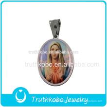 Joyería de cristianismo de calidad superior Santísima Virgen María Colgante Accesorios religiosos Joyería de acero inoxidable