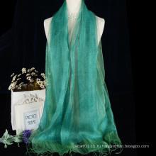 Дешевые женщины чистый цвет двойной слой шелк-сырец шарф с кистями