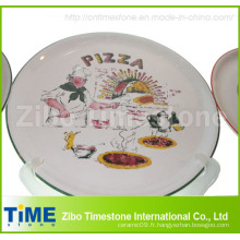 Plaque à pizza en porcelaine avec étiquette (TM0506)