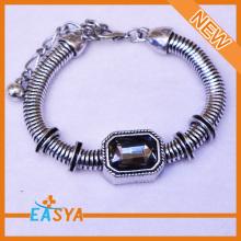 Antique Silver The Snake Chain Of Bone Glass Diamond Bracelet