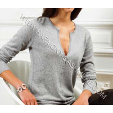 Ladies′ Crew Neck Cashmere Cardigan (HM-SW09007)