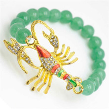 Green Aventurine Gemstone Bracelet with Diamante alloy scorpion Piece