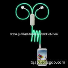 Earphone with Light Cable, (EL Cable), (Neon Light)