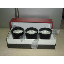 Vela de vidrio negro Jar en caja de cartón