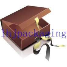Luxury Hinged Gift Packaging Chocolate Box with Ribbon
