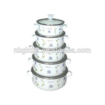 enamel lid and two side decal of enamel casserole sets kitchen accessories china products
