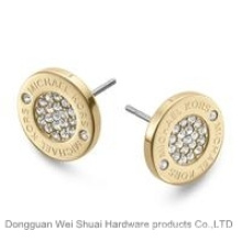 The New Circular Crystal Pave Logo Stud Earrings, Decorative Button
