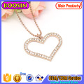 Fashion Crystal Pink Gold Heart Pendant Necklace Jewelry