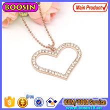 Moda cristal rosa de ouro coração pingente de colar de jóias