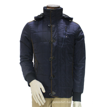 Match Mens Thick Classic Pea Coat Hooded Outdoor Jacket