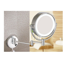 LED Cosmetic European Mirror, Folding Double-Side Mirror, Wall Mounted LED Makeup Bathroom Mirror