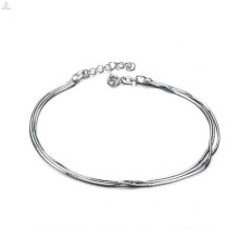 Tobilleras de plata finas para mujeres, tobilleras de platino de cobre diseños de joyas