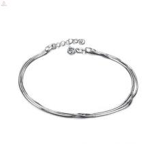 Femmes fines bracelets de cheville en argent, bracelets de cheville en platine de cuivre conçoit des bijoux