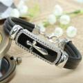 Religious Metal Alloy Cross Bracelet with leather cord, black enamel