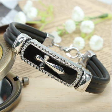 Religious Metal Alloy Cross Bracelet with leather cord, black enamel