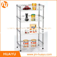 4 Tier Powder Coated Commercial Mobile Wire Shelving with 4 Baskets