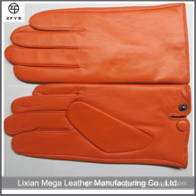 MEN'S THINSULATE ORANGER COLOR LEATHER GLOVES SOFT FLEECE LINED WINTER WARM GLOVES IN CANADA