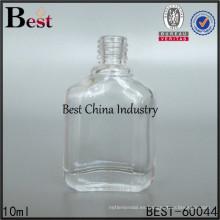 botella de esmalte de uñas plana, envase de vidrio del esmalte de uñas 10ml