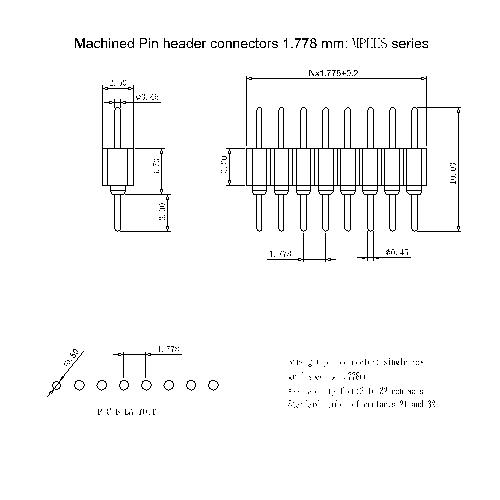 MPHHS-XXXA00 Machined Pin header connectors 1.778 mm MPHHS series