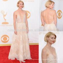 2013 Prêmios Emmy Claire Danes Vestido de celebridade com tapete vermelho Vestido de noiva sexy com tafetá sem costura Backless Long A-Line Vestido de noite NB0800
