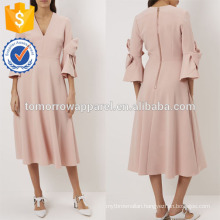 New Fashion Pale Pink Midi Dress With Bow-detail Sleeves Manufacture Wholesale Fashion Women Apparel (TA5248D)
