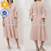 Новая мода светло-розовый Миди платье с бант-деталь рукава Производство Оптовая продажа женской одежды (TA5248D)