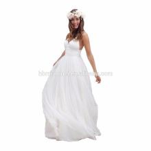 Vestido de boda del color blanco de la venta caliente 2017 hombro libre correa de espagueti largo diseño al por mayor vestido de noche