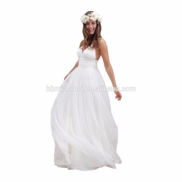 2017 hot sell white color wedding dress off shoulder spaghetti strap long design wholesale evening dress