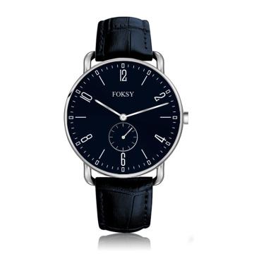 Custom logo genuine leather all stainless steel quartz watch