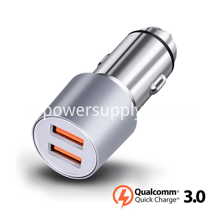 2 Poorts Car Charger With Qc 3 0 Quick Charging Function