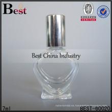 Las botellas de cristal de 7ml perfuman la forma del corazón; botellas de aceite de perfume de venta caliente en dubai; botella de vidrio superventas en los Emiratos Árabes Unidos