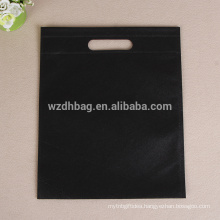 Reusable Wholesale Black Color Promotional Non Woven Die Cut Genal Bag