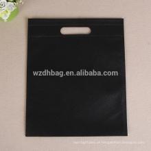 Saco genérico cortado não tecido relativo à promoção reusável da cor preta por atacado