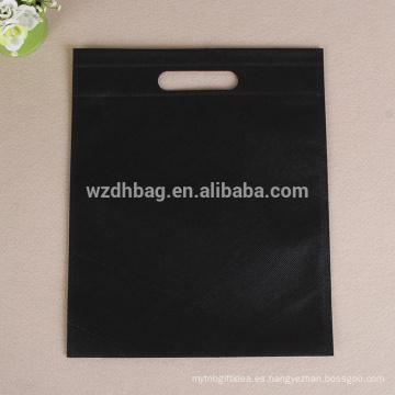 Bolso cortado con tintas no tejido promocional reutilizable del genal del color negro al por mayor