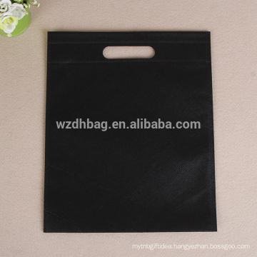 Reusable Wholesale Black Color Promotional Non Woven Die Cut Genal Bag