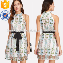 Applique Mesh Overlay Halter Dress Manufacture Wholesale Fashion Women Apparel (TA3227D)