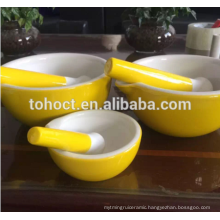 White/ Yellow/ Greeen/ Red color glazed Ceramic Mortar and Pestle set/ TOHO ceramic