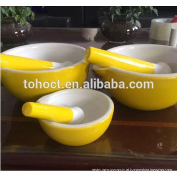 Branco / Amarelo / Greeen / Vermelho cor vitrificada Almofariz de Cerâmica e Pilão / TOHO cerâmica