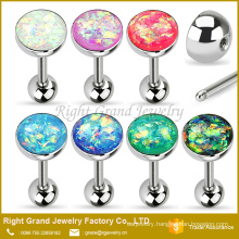 316L Surgical Steel Synthetic Fire Opal Dome Top Barbell Bar Tongue Ring