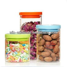 Borosilicate Glass Candy Storage Jar Sets With Plastic Lid And Sealed Ring