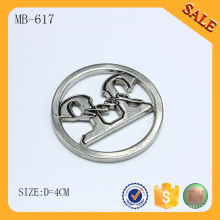 MB617 Silver round design custom bag metal plate