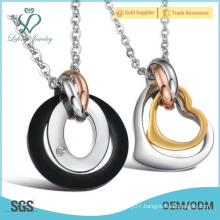 2016 Valentine's Day gift Stainless steel couples heart necklaces love couple heart necklace