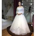 Vestido largo de novia de la flor blanca de la manga larga del applique de la manga atractiva 2017 china