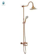 KH-07M acessórios de banheiro dourados de venda quente cromo de latão sólido acabado com banho de chuveiro com cabeça de girassol que combina um chuveiro misturador