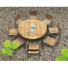 Patio de jardín al aire libre comedor redondo silla de madera de teca